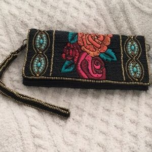 NWOT Mary Frances Beaded Wallet w/ Wrist Strap